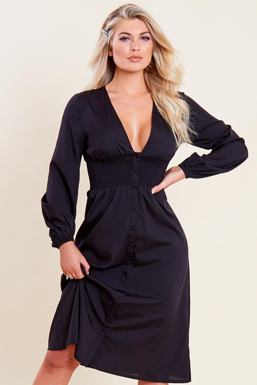Black Shirred Waist Button Through Midi Tea Dress