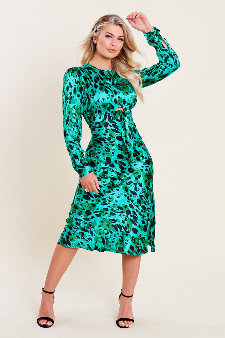 Green Satin Animal Print Tie Front Detail Bias Cut Midi Dress