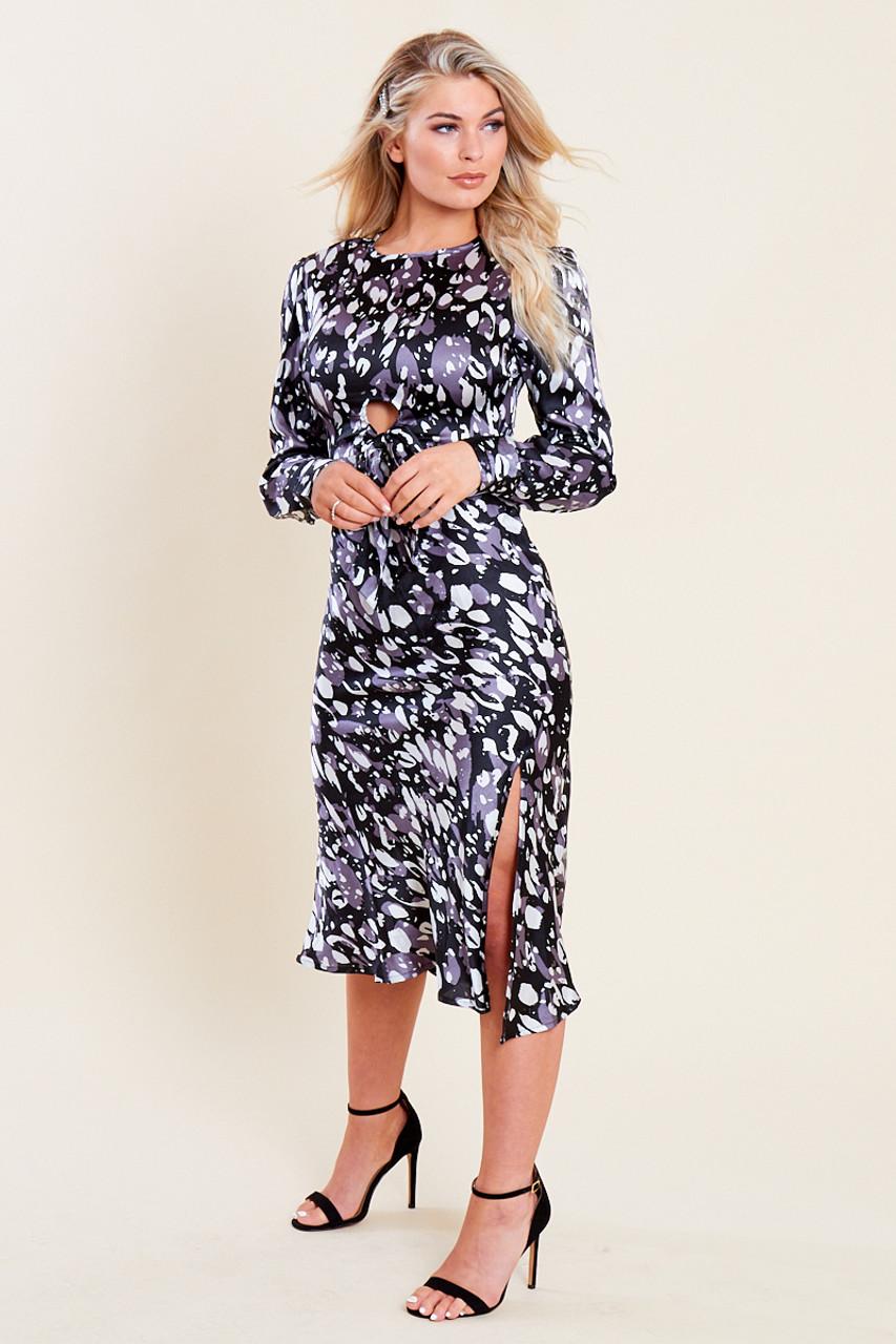 Black Satin Animal Print Tie Front Detail Bias Cut Midi Dress