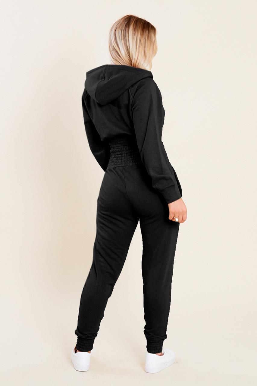 Black Loop Back Shirred Waist Zip Through Crop Hoodie