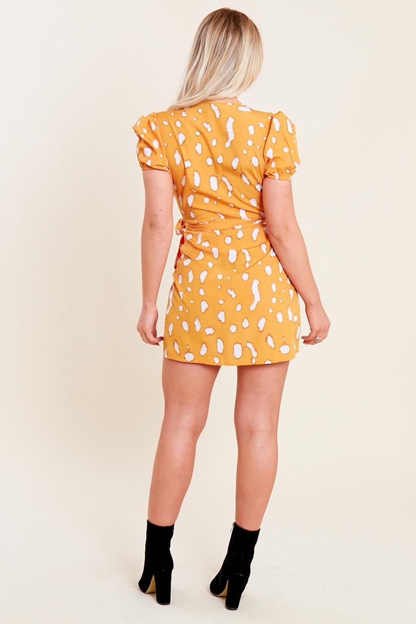 Mustard Splodge Print Mini Wrap Dress with Puff Sleeves