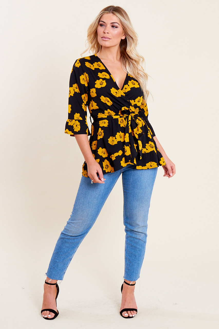 Black Yellow Floral Print Ruffle Hem Frill Sleeve Belted Wrap Top