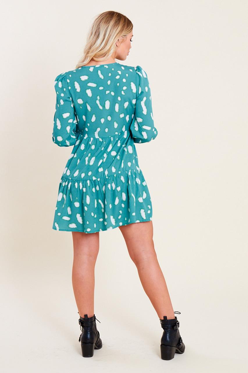 Teal Green Splodge Print Frill Hem Mini Dress