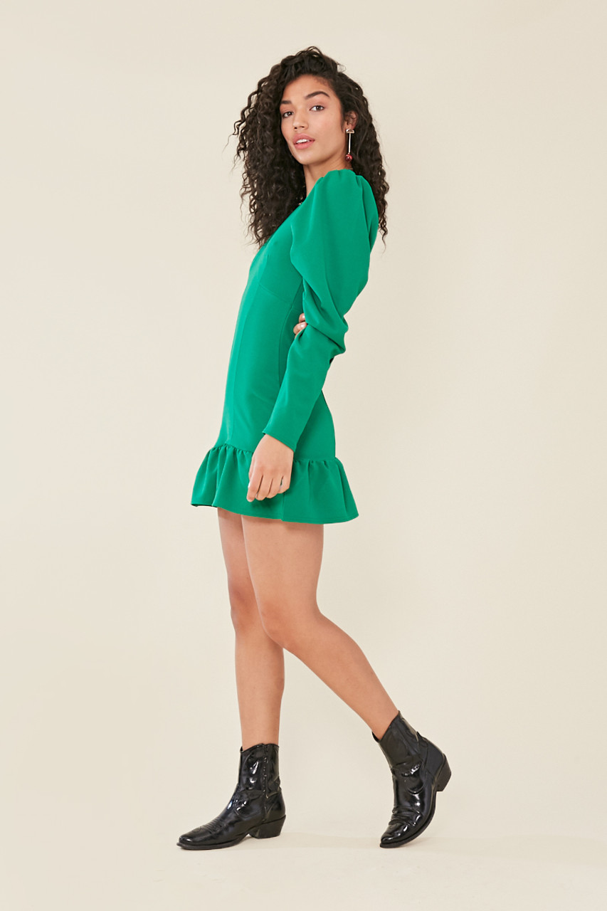 Green Plunge Neck Dropped Frill Hem Bodycon Dress