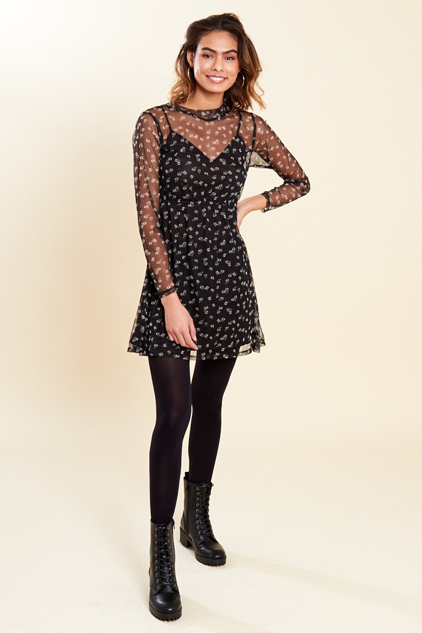 Black Floral Print Elastic Waist Long Sleeve Mesh Dress