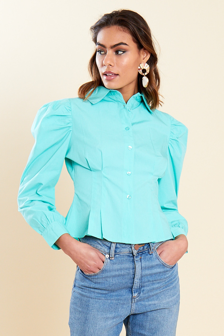 Green Cotton Puff Sleeve Blouse