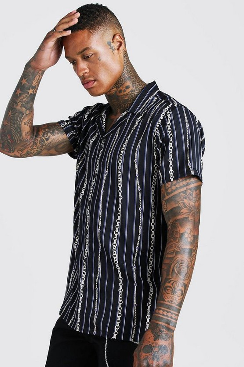 Black Stripe Short Sleeve Revere Collar Chain Print Shirt