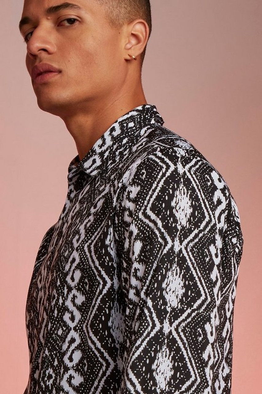 Black Long Sleeve Stripe Aztec Print Shirt