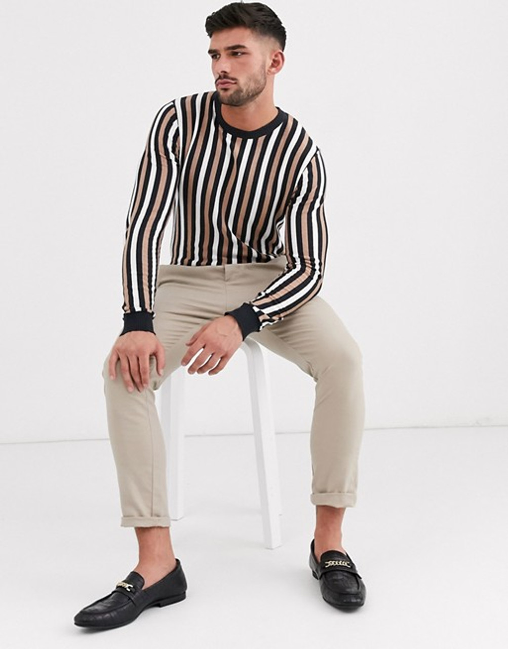Black Multi Vertical Stripe Muscle Fit Crew Neck Jumper