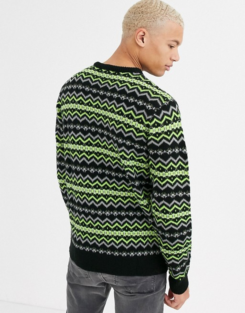 Black Neon Green Fairisle Knitted Jumper