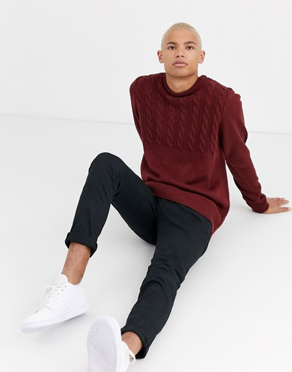 Burgundy Half Cable Knitted Jumper