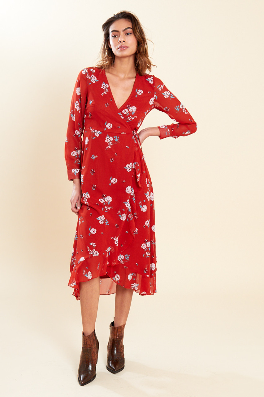 Rust Floral Print Long Sleeve Wrap Midaxi Dress