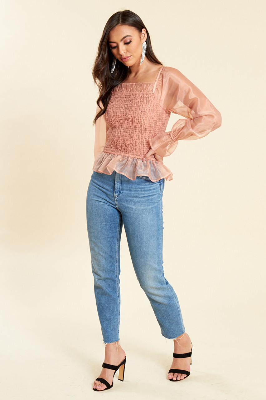 Blush Organza Shirred Milkmaid Top