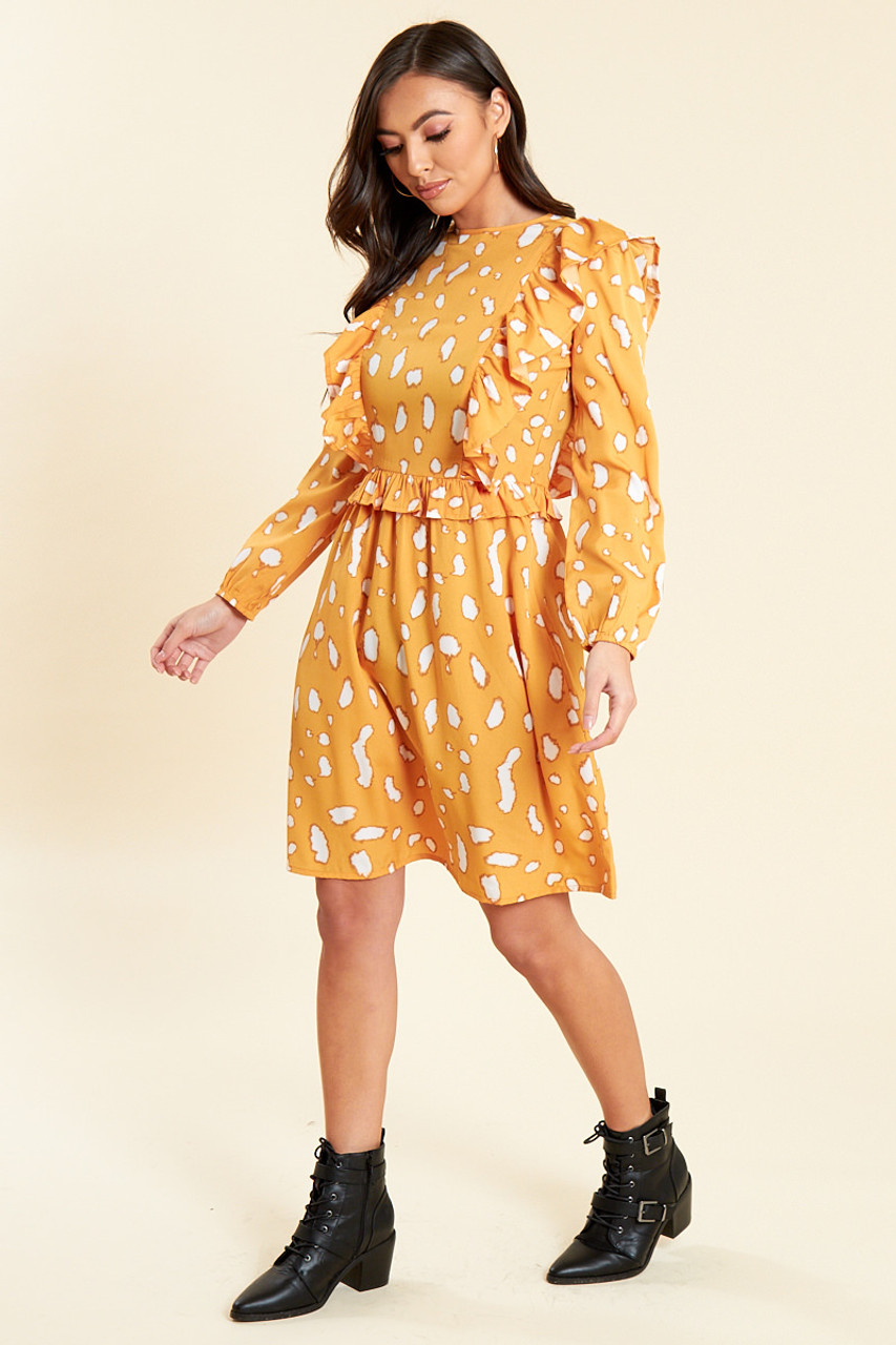 Mustard Abstract Splodge Print Smock Midi Dress with Ruffle Bib Detail