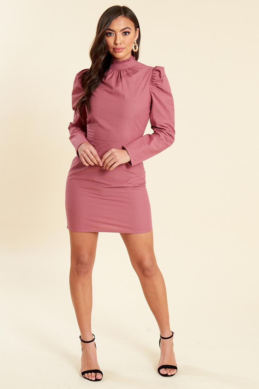 Dusky Rose Cotton Poplin Puff Sleeves Mini Shift Dress