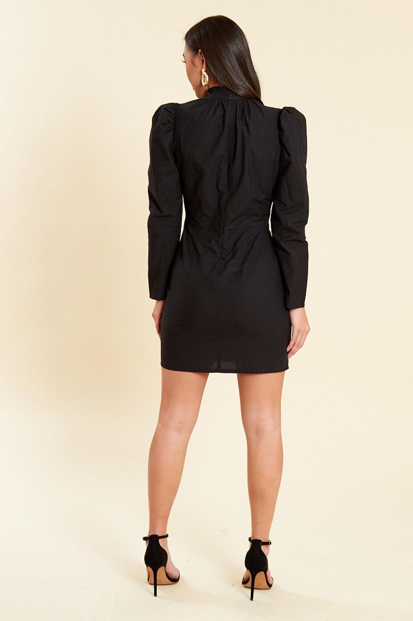 Black Cotton Poplin Puff Sleeves Mini Shift Dress