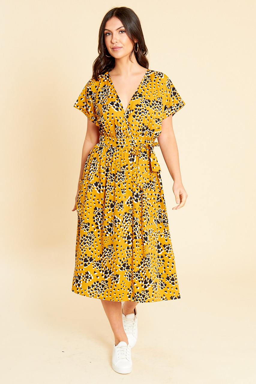 Mustard Heart Print Wrap Midi Dress