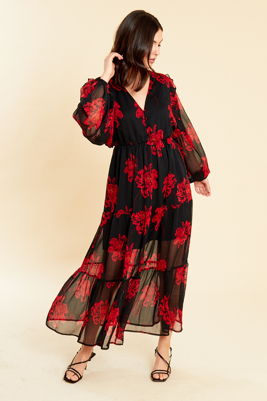Bold Floral Tiered Maxi Tea Dress With Balloon Sleeves
