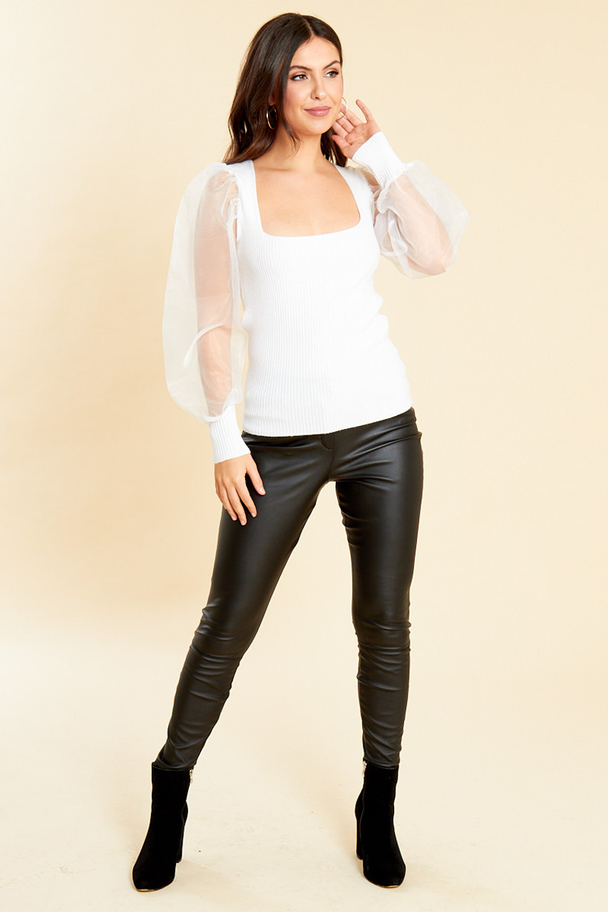 White Square Neck Jumper with Organza Sleeves