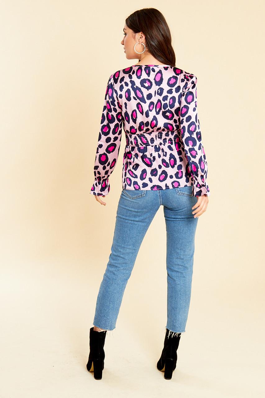 Pink Satin Leopard Print Button Detail Shirred Waist Tea Top