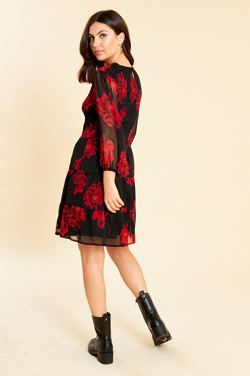 Black Red Floral Shirred Dress With Tiered Skirt