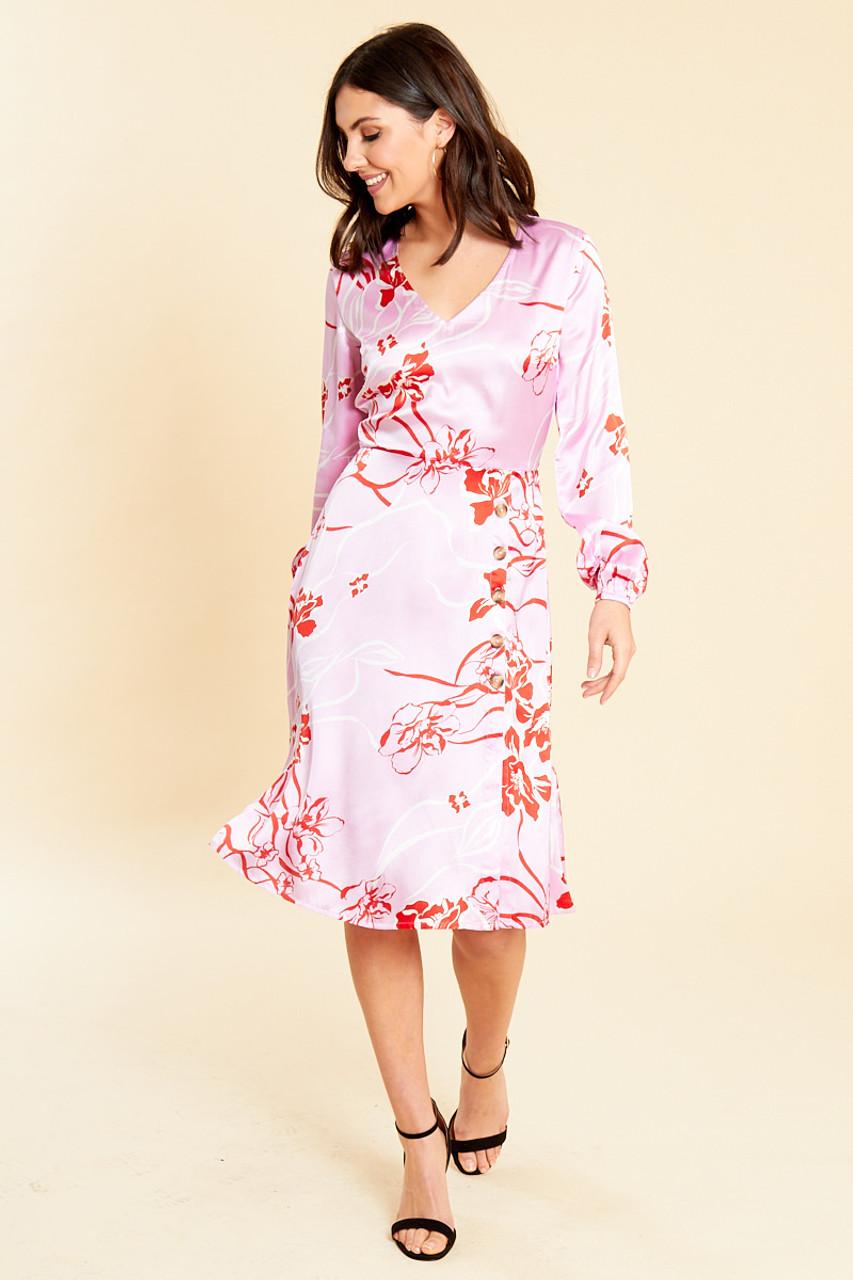 Satin Floral Print Midi Dress with Button Detail