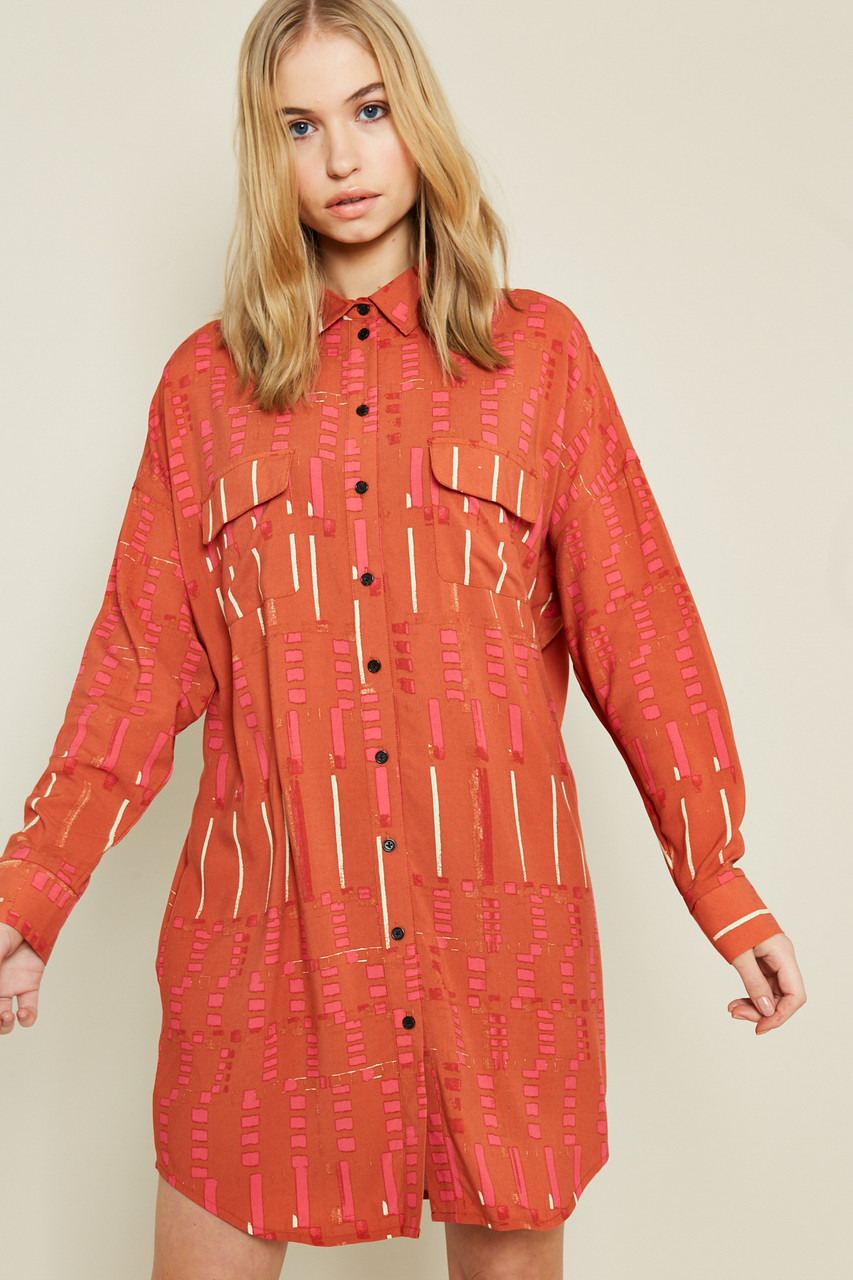 Printed Button Down Shirt Dress