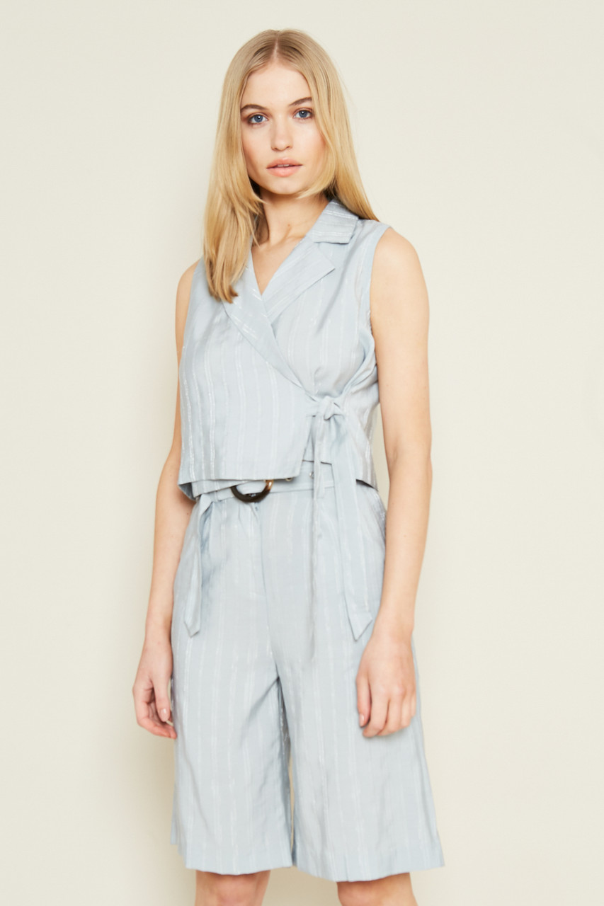 Blue City Short With Self-Fabric Belt With Buckle