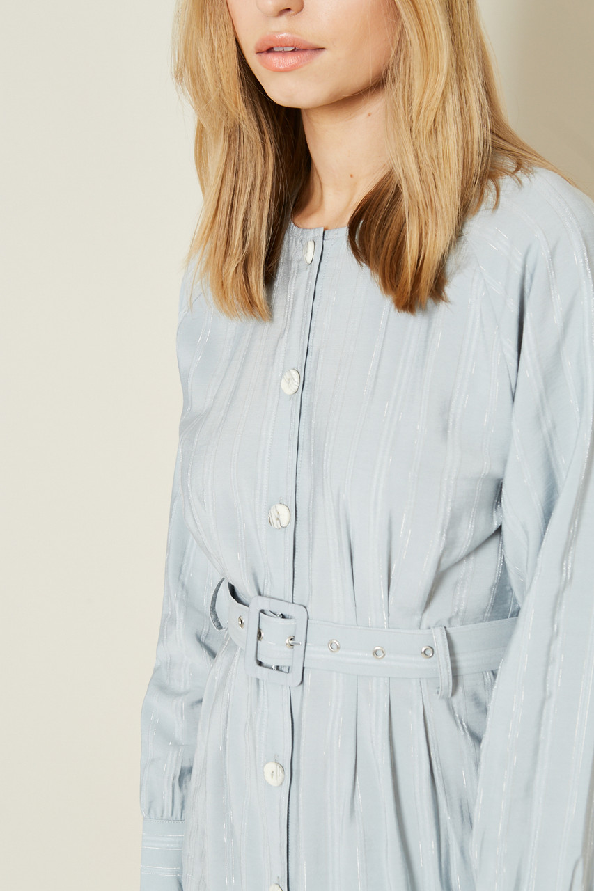 Blue Button Down Dress With Chunky Belt