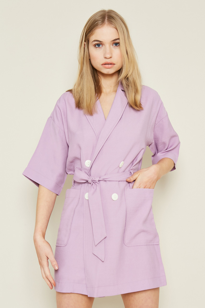 Lilac Longline Double Breasted Blazer