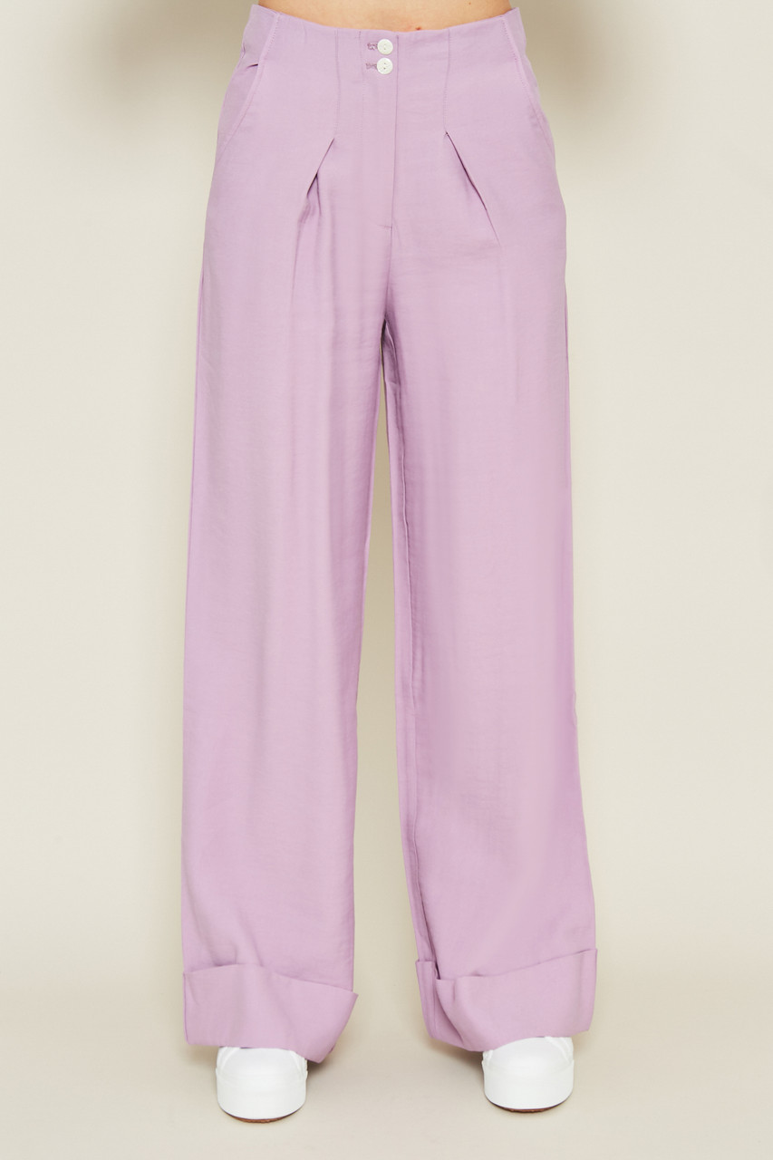 Lilac Wide Leg Tencel Trouser With Cuff Turn Up