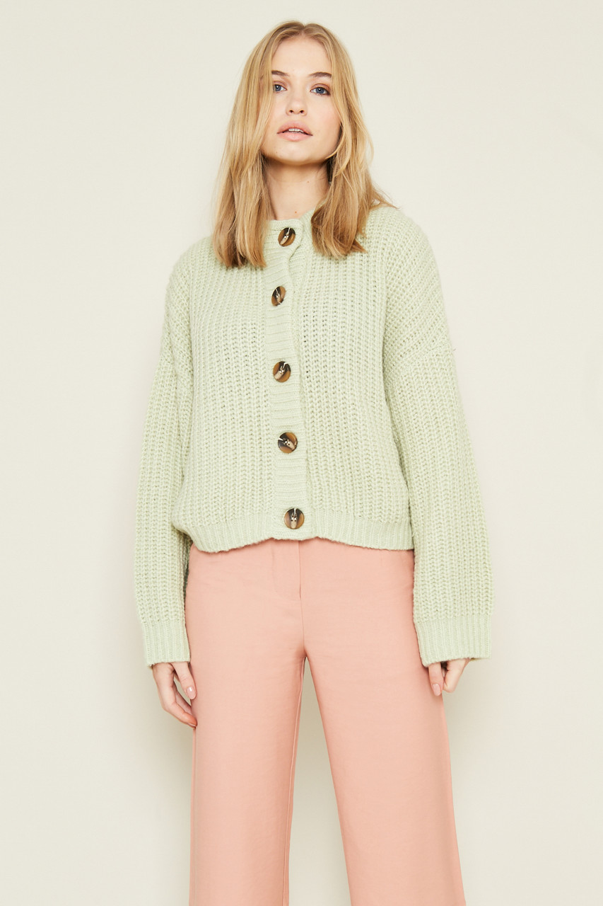 Chunky Knit Cardigan with Statement Buttons and Welt Pockets