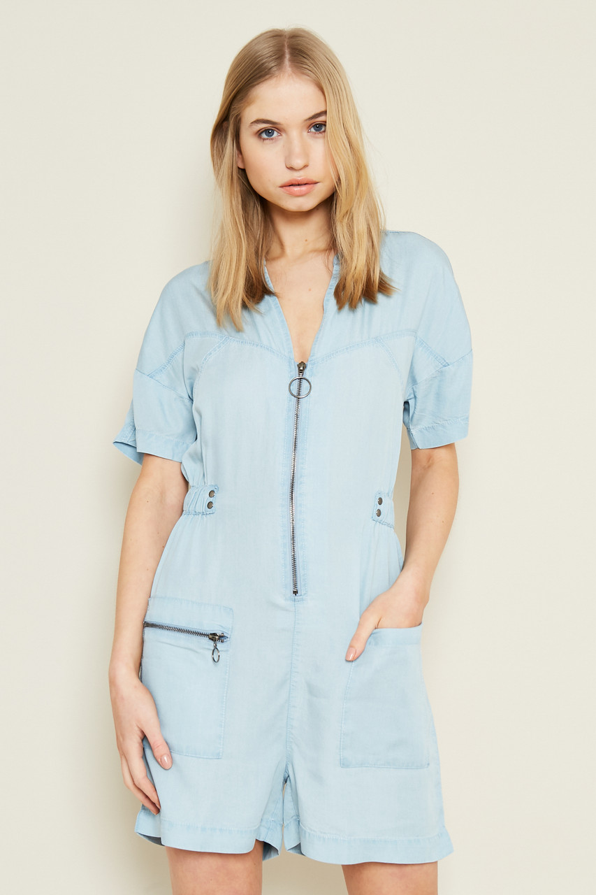 Tencel Denim Playsuit With Stitch Detail And Metal Work