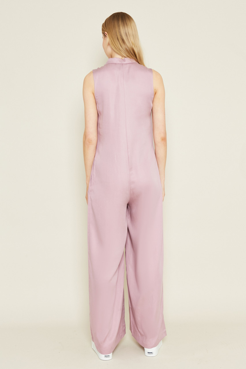 Loose Fit Jumpsuit With Collar And Button Placket At Front