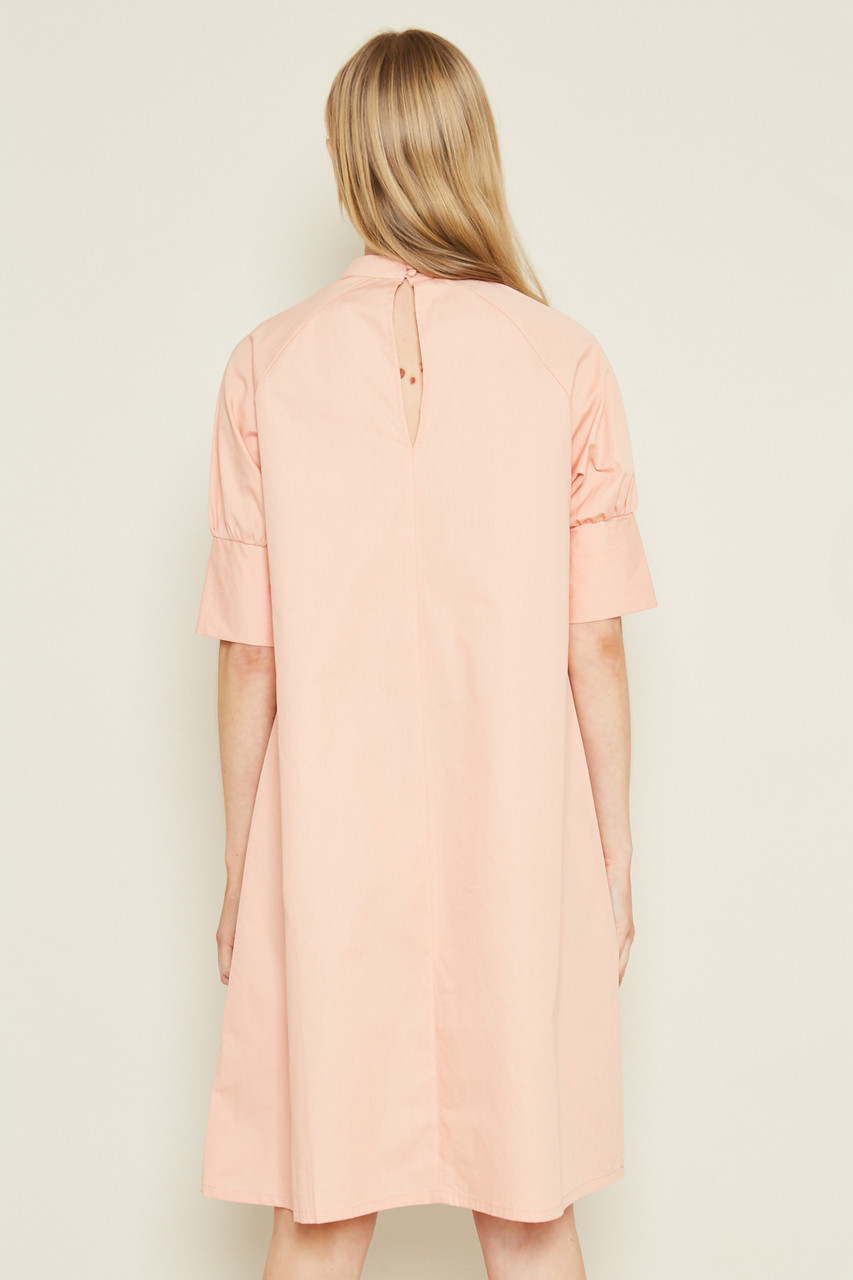 Shift Dress Shape With Pleated Neck Line In Colour Poplin