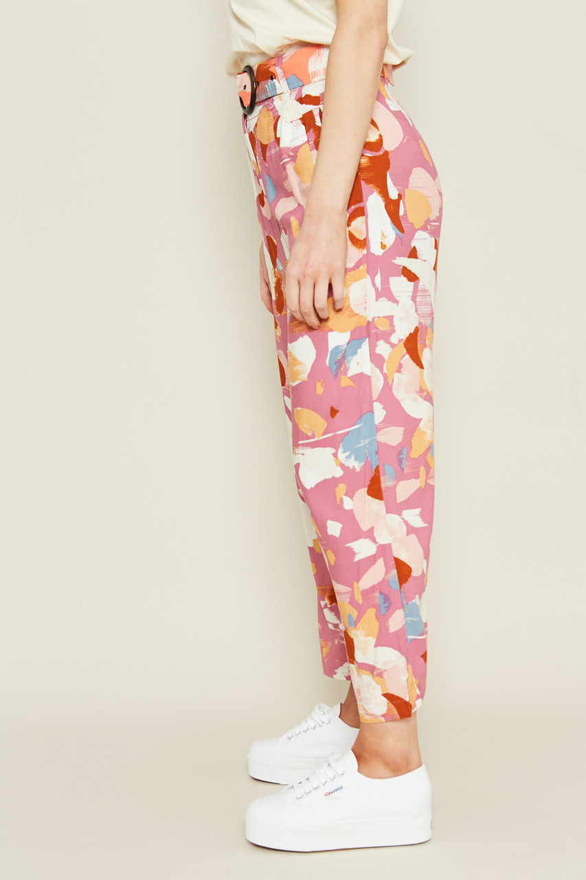 Printed Culotte Trousers With Contrast Waistband In Mix And Match
