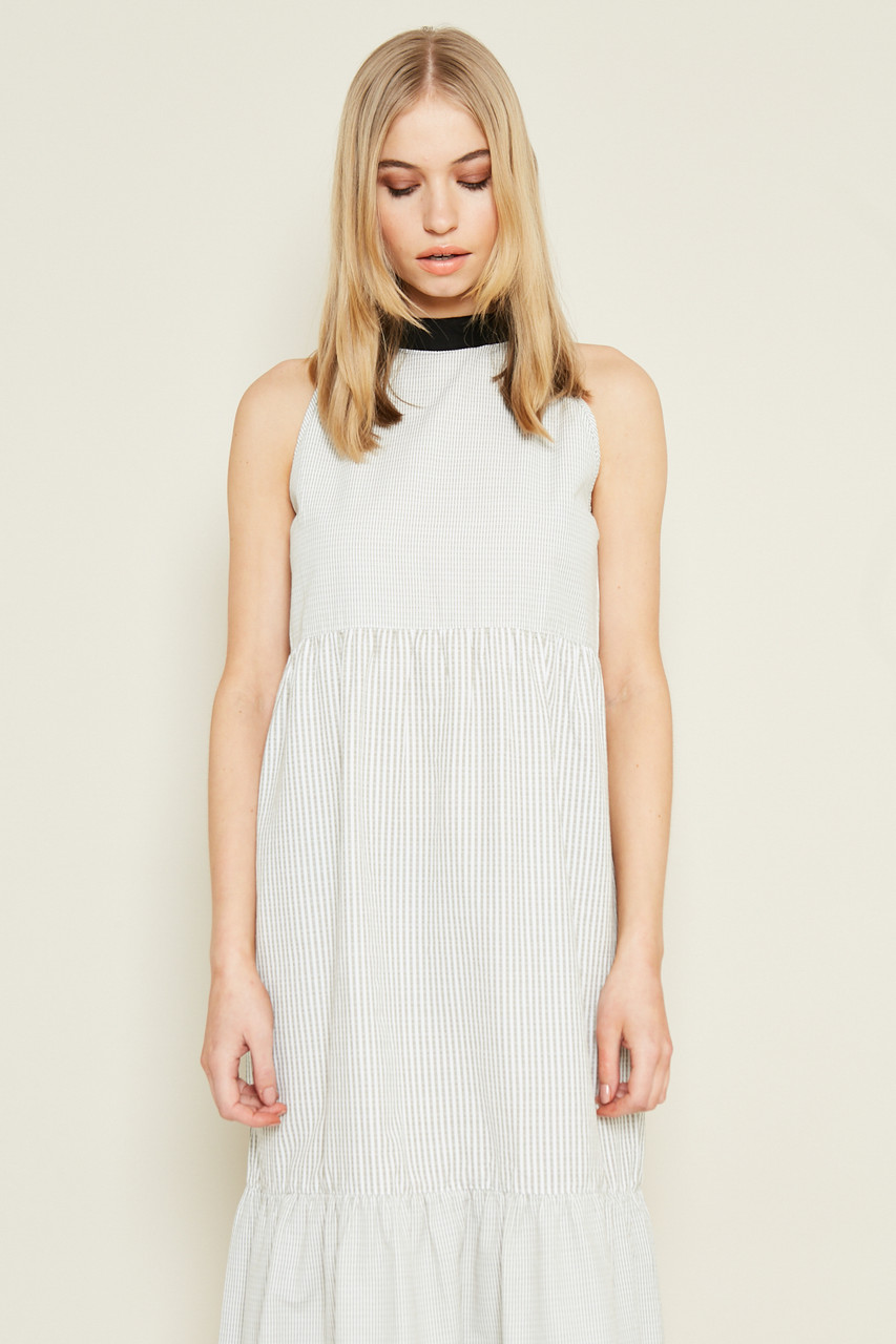 Halter Neck Tiered Dress With Contrast Stripe Panel