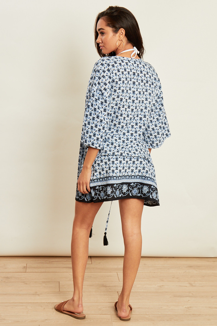 Blue Border Print Beach Kimono with Tassel Trim
