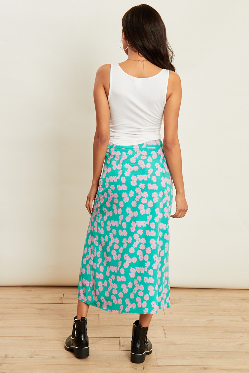 Green Floral Print Midi Skirt with Split