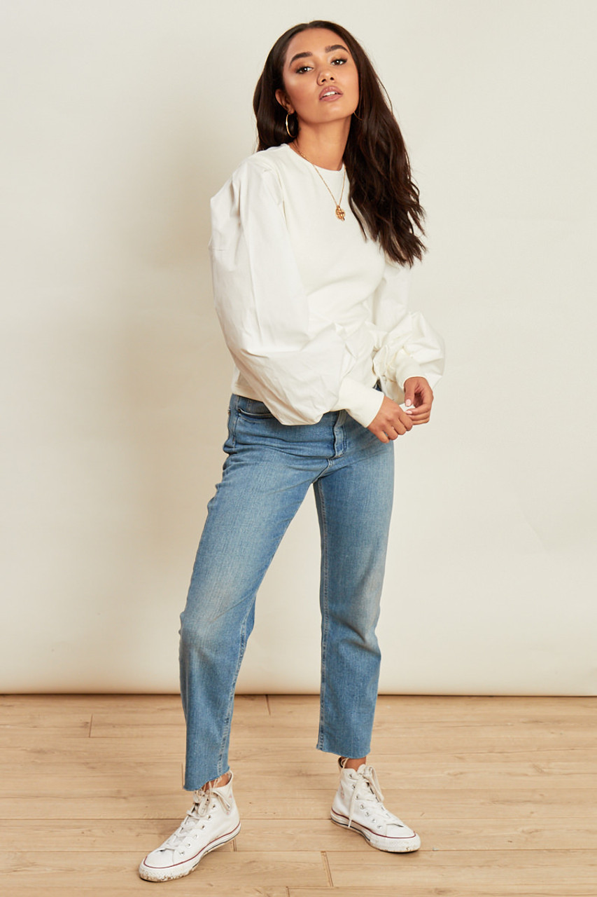 White Jumper with Cotton Puff Sleeves