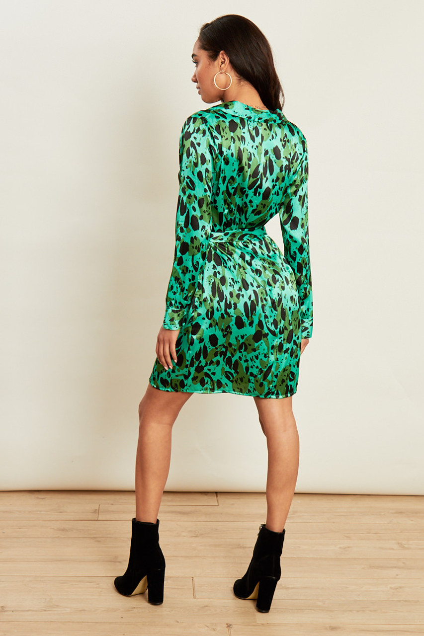 Green Satin Abstract Animal Print Belted Mini Shirt Dress