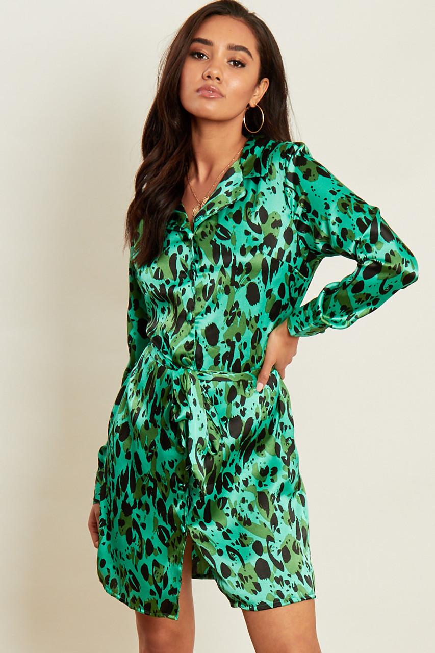 Green Satin Abstract Animal Print Belted Mini Shirt Dress