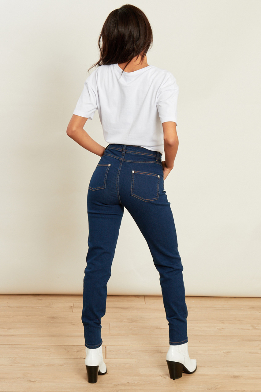 Blue Mid Wash High Waist Skinny Jeans