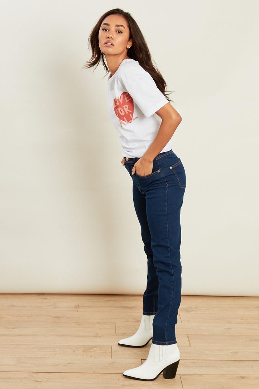 Blue Mid Wash High Waist Skinny Jeans