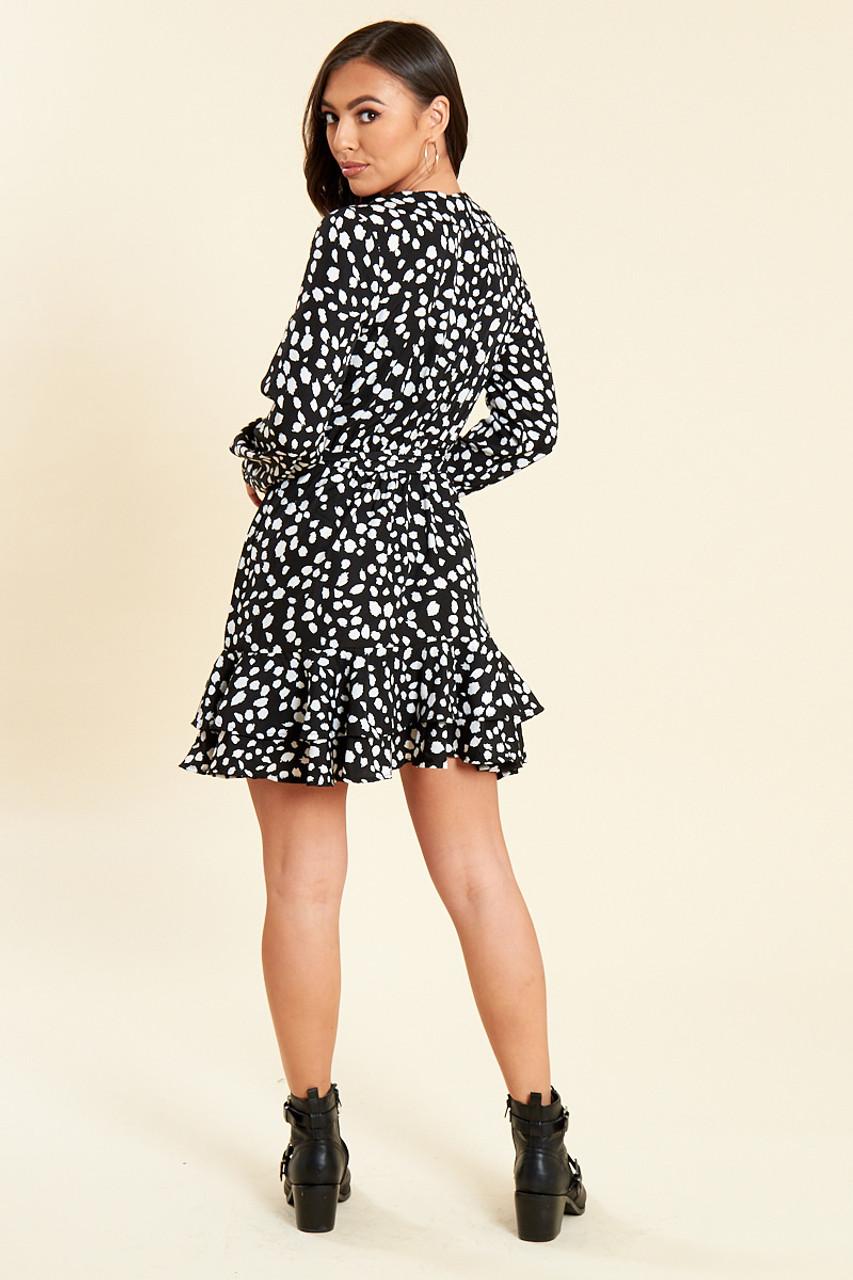 Black Animal Print Ruffle Wrap Dress with Skirt