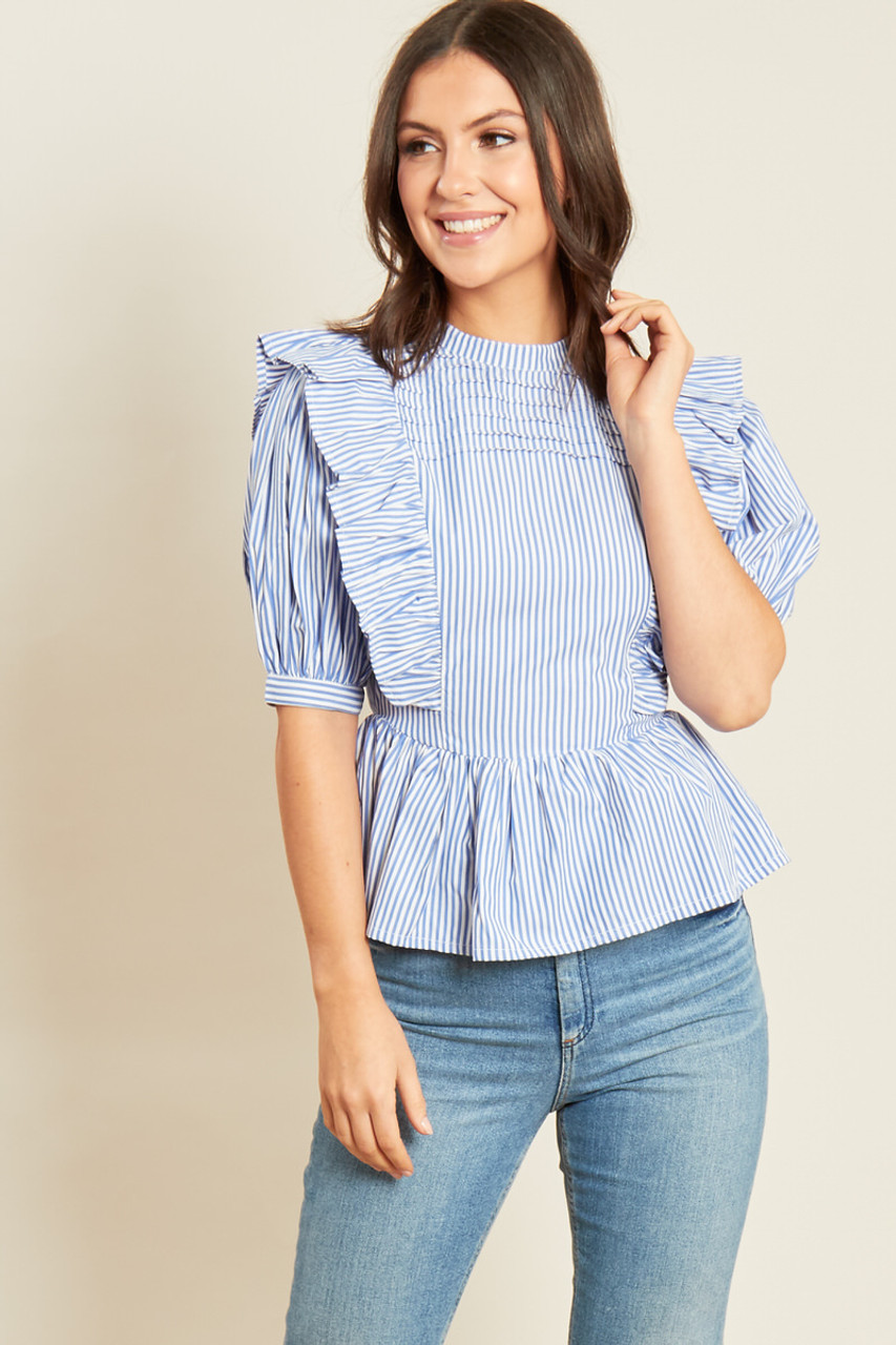 Blue White Stripe Cotton Poplin Peplum Hem Top