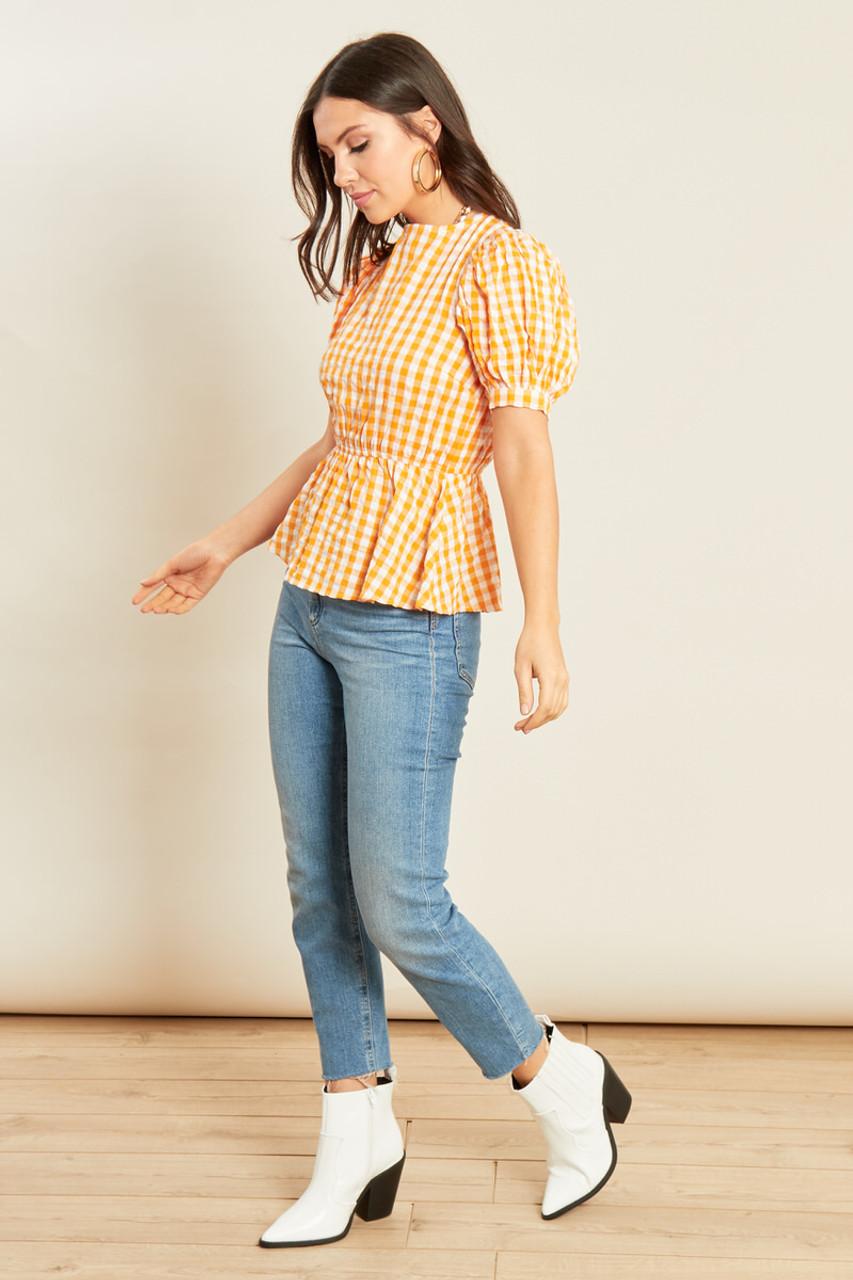 Yellow Gingham Peplum Hem Tie Back Top with Puff Sleeves