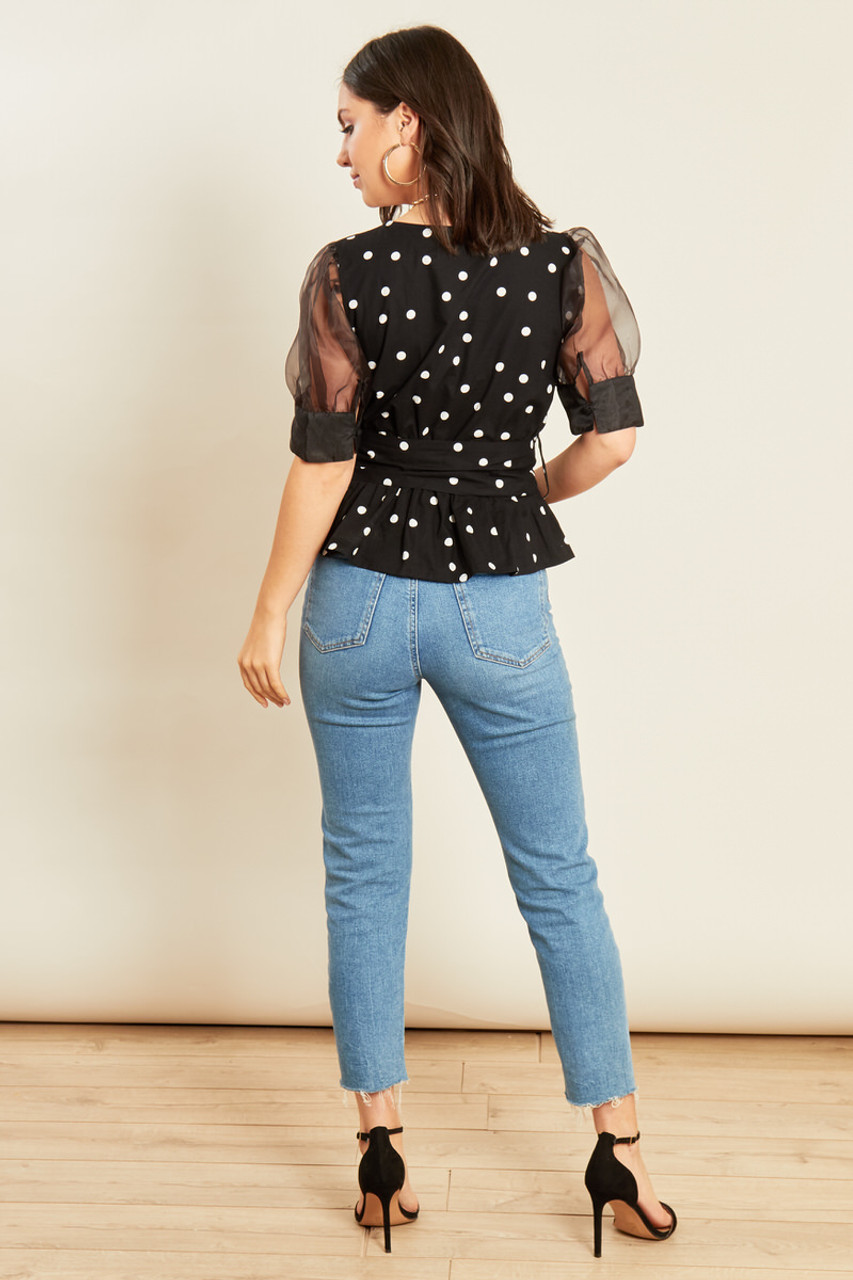 Black White Spot Cotton Poplin Wrap Top with Organza Sleeves