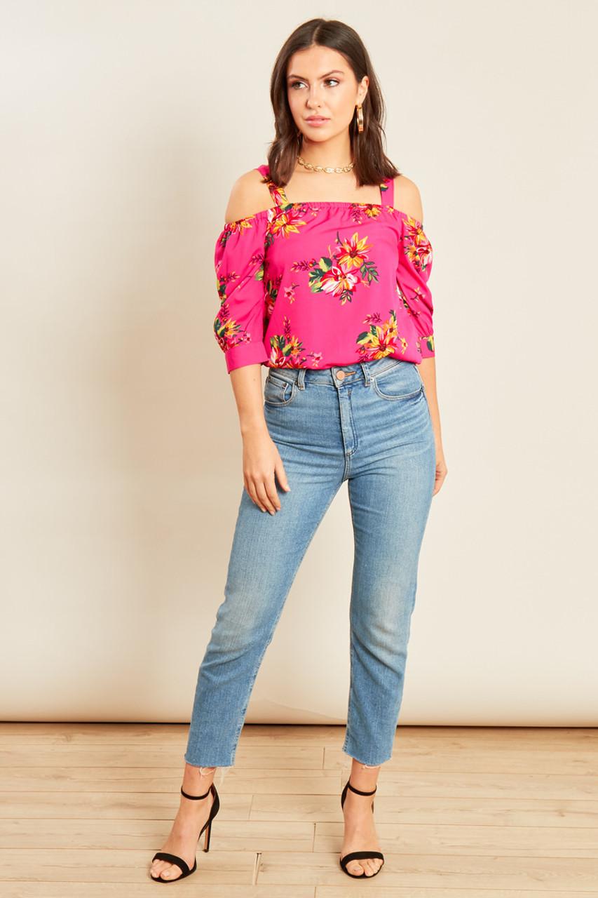 Pink Tropical Print Bardot Top
