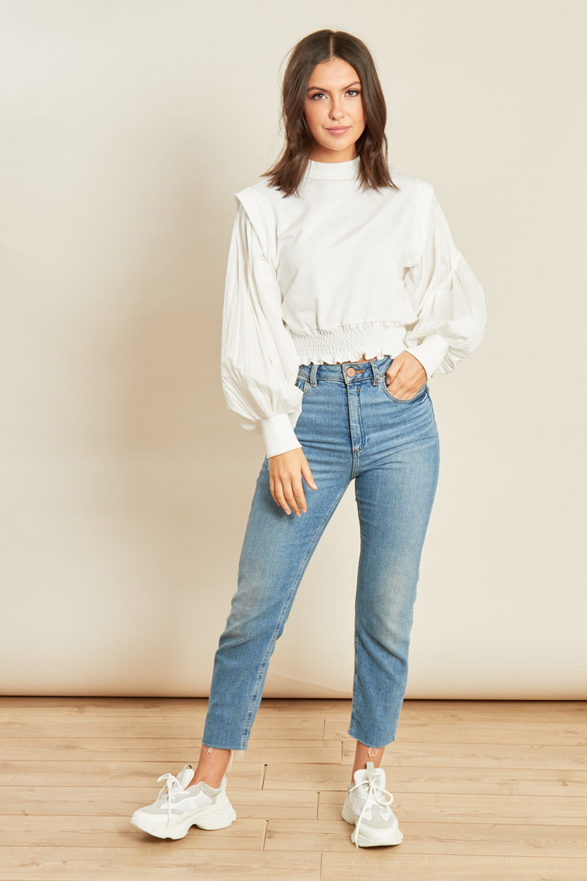 White High Neck Shirred Waist Sweater with Cotton Sleeves